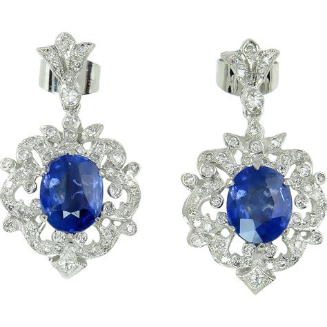 Blue Saphire 3 03 Ct vintage 4 03ct oval sapphire drop dangle earrings