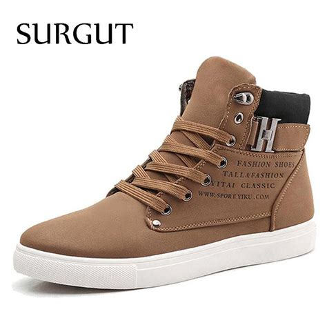 mens boots style 2014 surgut shoes 2018 top fashion new winter front lace up