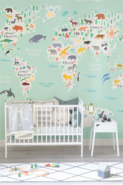 Safari Map Mural Wallpaper Muralswallpaper - educational map wallpapers great ideas for your child s
