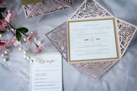 laser cut wedding invitations canada flower laser cut wedding invitations with gold glitter impressions custom invitations