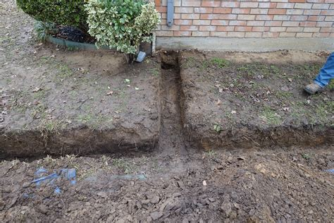 home design stunning french drain installation for lawn drainage system ideas with downspout