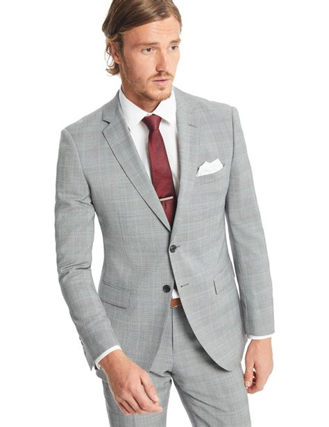 light grey slim fit suit s grey and light blue prince of wales check slim fit