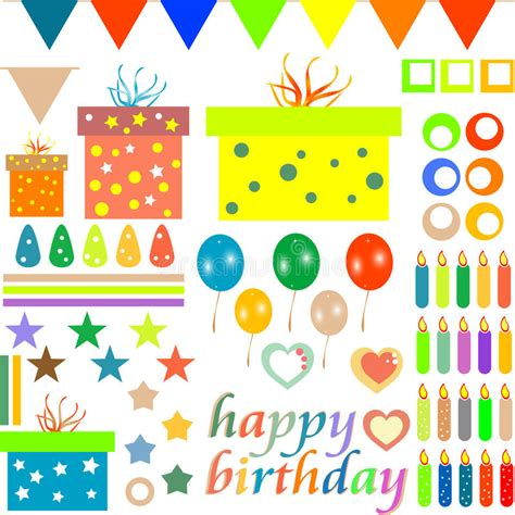 happy birthday design elements happy birthday design elements for baby scrapbook stock
