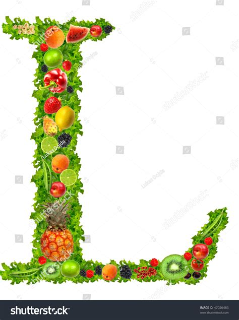 l vegetables fruit vegetable letter l stock photo 47026483