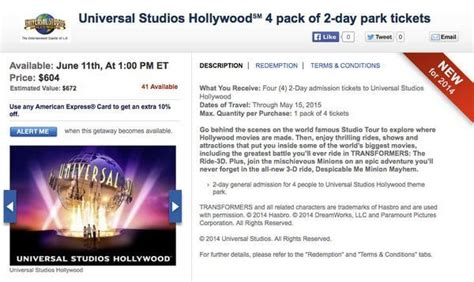 Where Can You Buy Universal Studios Gift Cards - today only save on universal studios hollywood tickets million mile secrets
