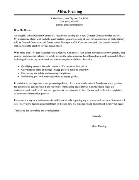 Complaint Letter To General Contractor Best General Contractor Cover Letter Exles Livecareer
