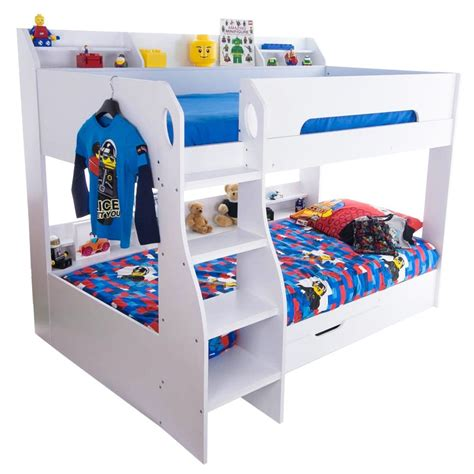 white bunk beds with storage bunk bed in white with storage beds