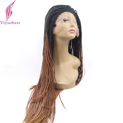 afrian amerian wigs with micro braids yiyaobess black to brown ombre lace front wig synthetic