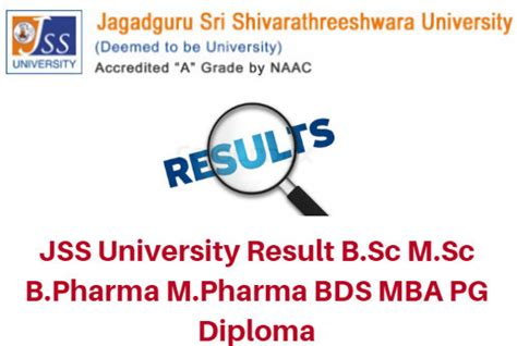 Mba After Bds by Jss Result 2017 B Sc M Sc B Pharma M Pharma Bds