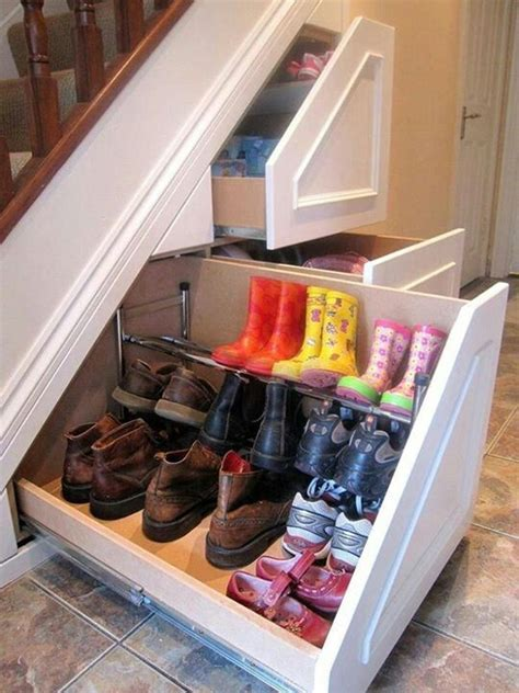 stair shoe storage understairs space saving shoe rack storage ideas