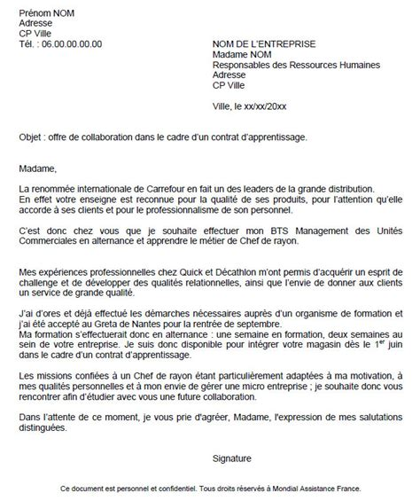 Lettre De Motivation Ecole Formation En Alternance aide modele lettre de motivation en alternance
