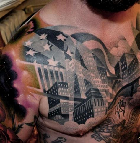 raw tattoos chest city by