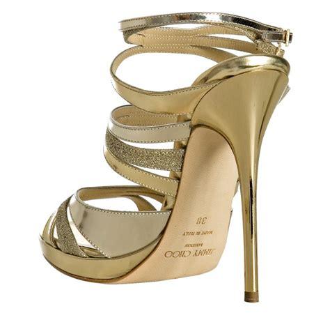 jimmy choo gold sandals jimmy choo gold metallic leather buzz platform sandals in