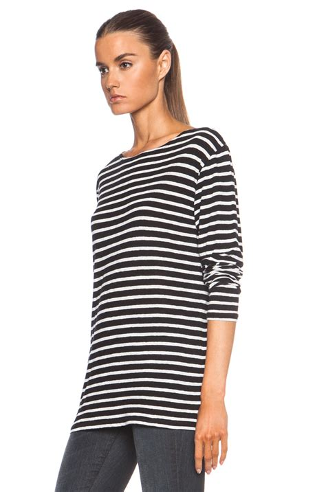 black and white boat neck striped shirt r13 striped boat neck cotton tee in black lyst