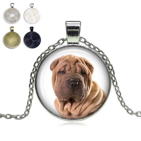 top pet gifts shar pei glass dome necklace top pet gifts