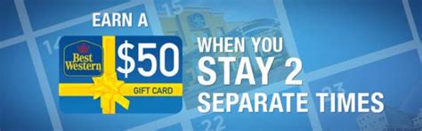 Best Western Gift Card - get a 50 gift card after 2 stays at best western million mile secrets