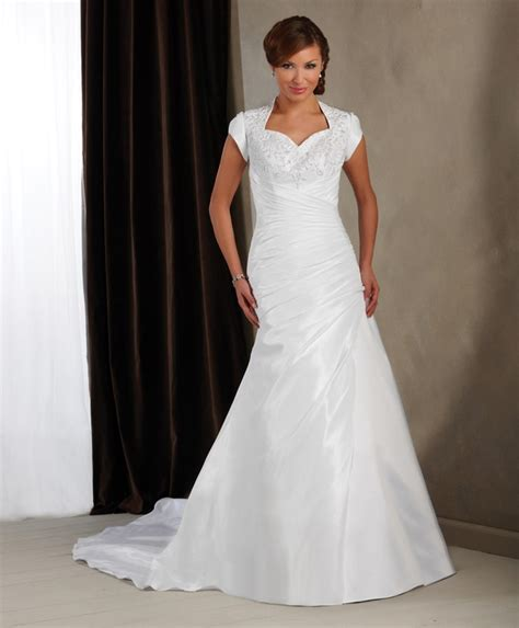 cheap plus size a line wedding dress with short sleeves