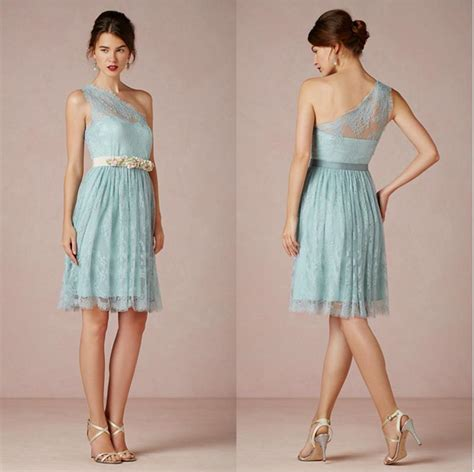 short light blue dresses for juniors light blue lace short bridesmaid dresses one shoulder knee