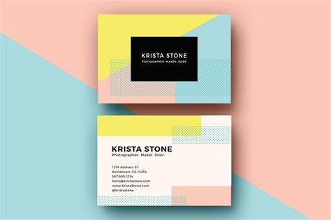 pastel color card templates geo shapes business cards template business card