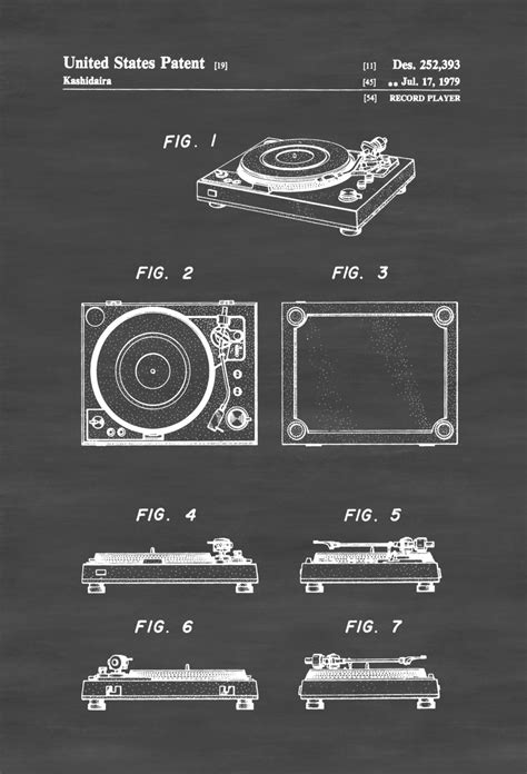 posters home decor record player patent patent print wall decor record