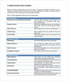 creating business plan template sle business plan 11 exle format