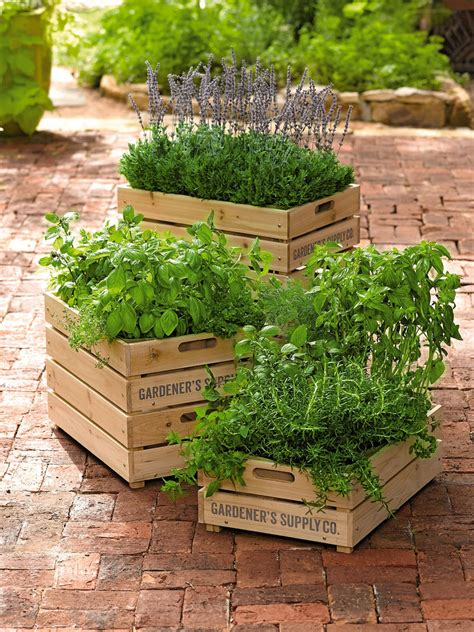 Wooden Crate Planter by Herb Box Wooden Crate Planter With Liner Gardener S Supply