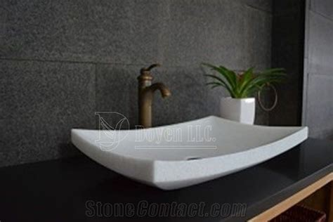 crystal white marble bathroom rectangular vessel sinks top