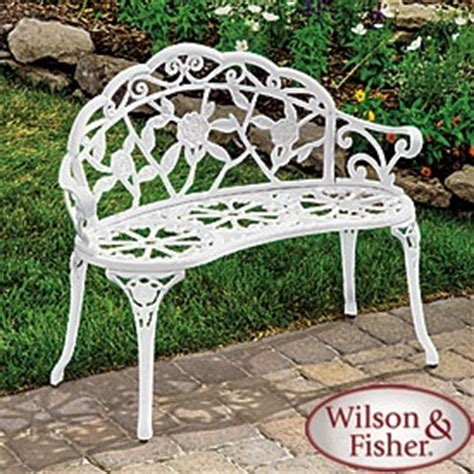 white cast iron bench wilson fisher 174 white rose cast iron bench patio pinterest fisher benches and