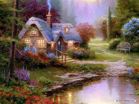 cottage paintings by kinkade free wallpaper free nature wallpaper kinkade
