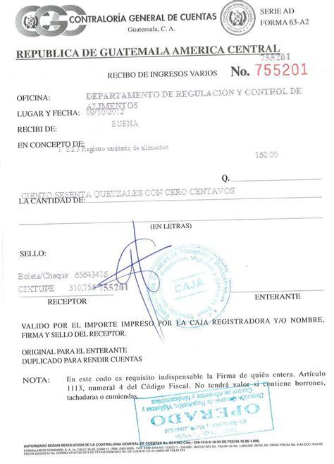 registros sanitarios de alimentos 01 recibo 63a registro sanitario de alimentos operado