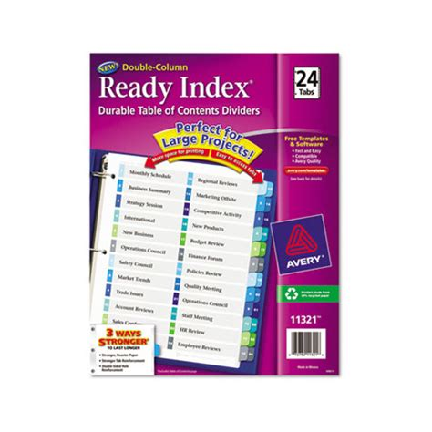 Avery Ready Index Customizable Table Of Contents Double Column Dividers Ave11321 Shoplet Com Avery 25 Tab Table Of Contents Template