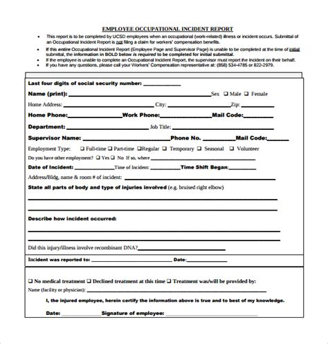 employee incident report template sle employee incident report template 11 free