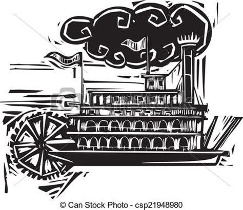steamboat cartoon drawing vector of woodcut stern wheel riverboat woodcut style
