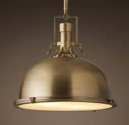 Restoration Hardware Island Lighting Harmon 19 Quot Pendant Antique Brass Our Kitchen