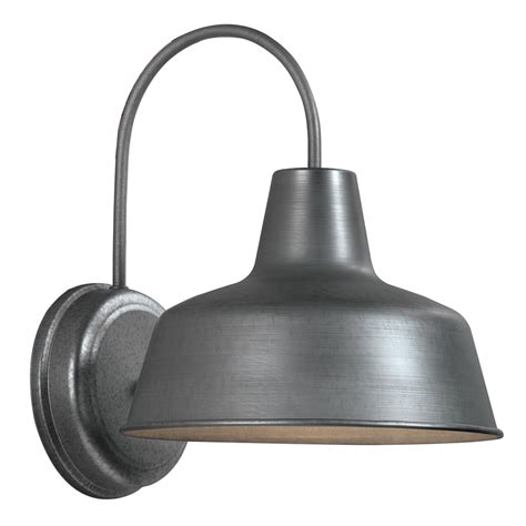 Outdoor Lighting Lowes Shop Portfolio Ellicott 13 12 In H Galvanized Sky Outdoor Wall Light At Lowes