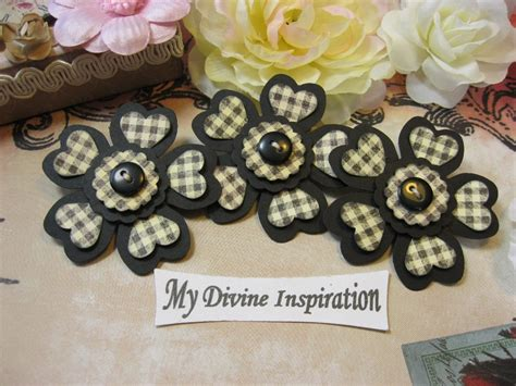 Black Handmade Paper - black and plaid handmade paper embellishments paper flowers