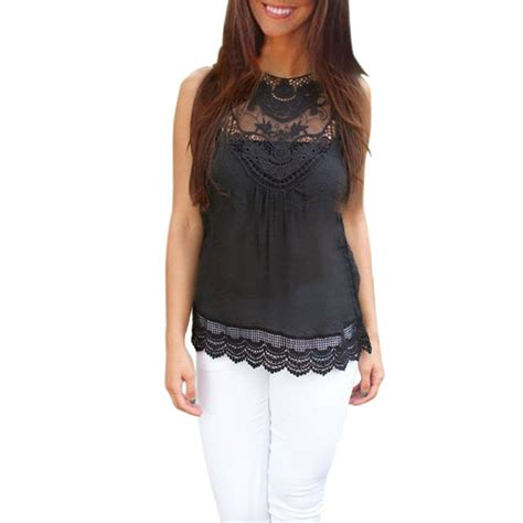 Black Casual Top 24643 jecksion summer blouse 2016 fashion black tops sleeveless blouse casual lace blouse in