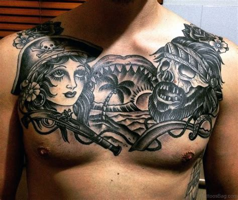 pirate tattoos for men 50 fantastic chest tattoos for