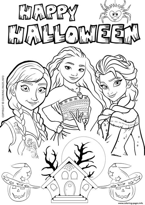 elsa halloween coloring page halloween frozen elsa moana disney coloring pages printable