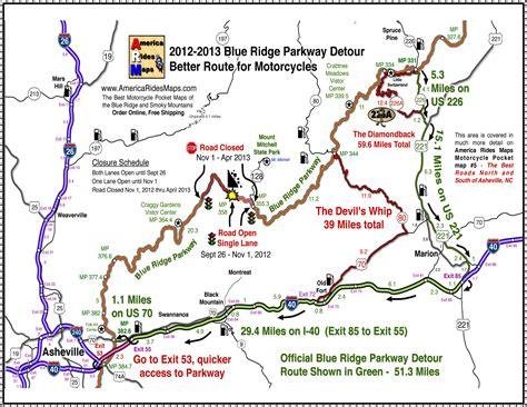 blue ridge parkway blue ridge parkway 2013 detour map for motorcycles smoky