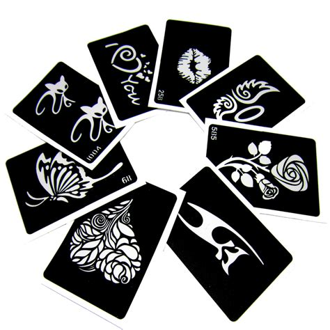 50pcs lot glitter tattoo stencil drawing for painting