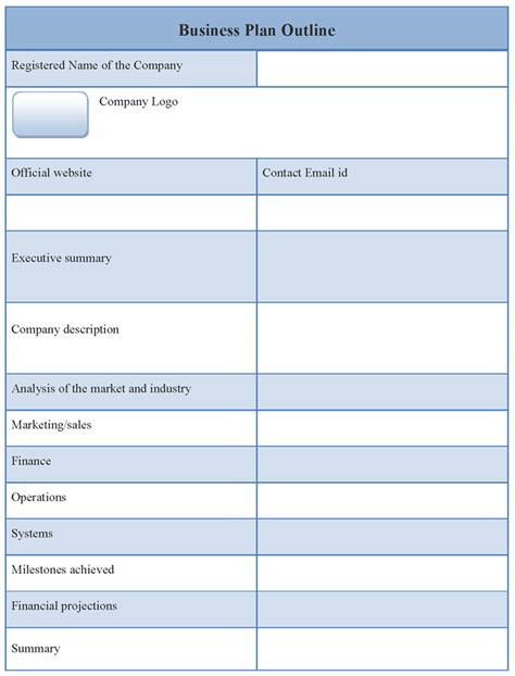outline template for business plan format of business