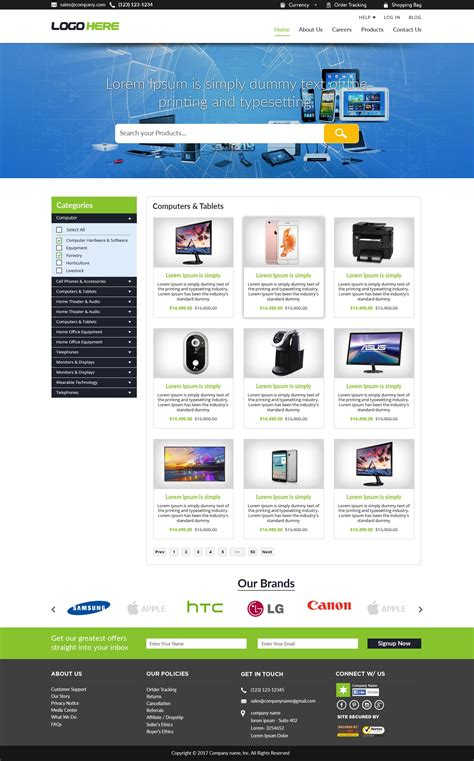 design free ecommerce website free ecommerce website templates free psd design