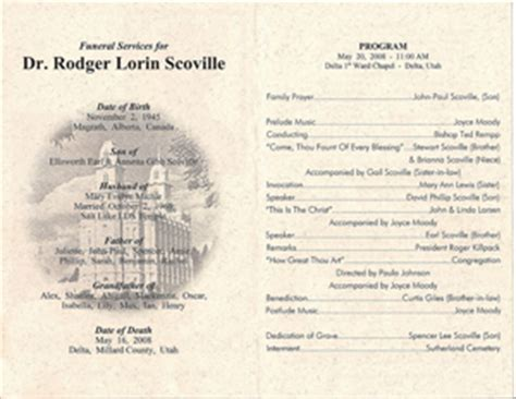 funeral order of service outline funeral programs the