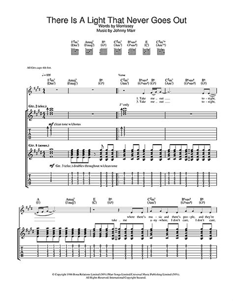 there is a light that never goes out guitar tab by the