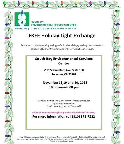 holiday light exchange south bay environmental services