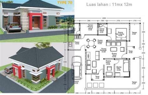 4 denah rumah tipe 70 120 1 lantai dengan 3 kamar tidur 1000 gambar model desain rumah