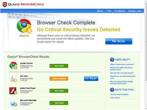 qualys browsercheck scans for browser security issues and