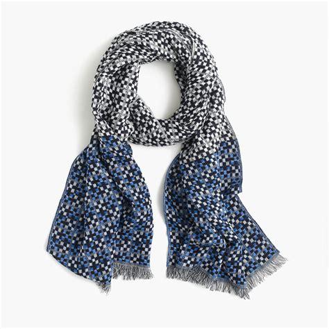 j crew woven fringe scarf in blue lyst