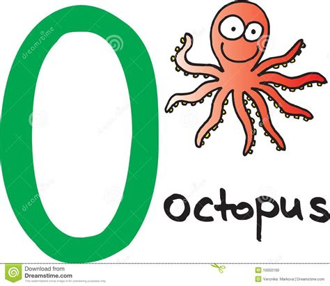 Letter Pic letter o octopus stock vector image of illustrated